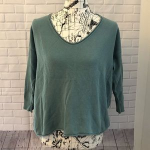 Madewell Vneck oversized sweater green knit